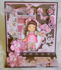 Magnolia Tilda and Butterflies easel card made by Pattie