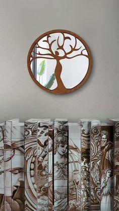 Woodboz WoodMirror koleksiyonundan evleriniz için tasarım ayna; tamamen el işçiliği ile doğal ahşaptan üretilmiş dekoratif ürünler renk, doku ve kokusuyla evleriniz için ideal bir dekorasyon ürünüdür.   ÜRÜN BİLGİSİ: Ürün çapı: 58cm'dir Wood Mirror, Mirrors, Frame, Home Decor, Picture Frame, Decoration Home, Room Decor, Frames, Home Interior Design