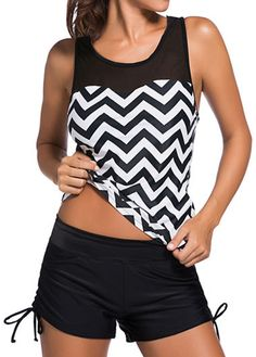 Chevron Print Tank Top and Black Shorts on sale only US$27.23 now, buy cheap Chevron Print Tank Top and Black Shorts at lulugal.com