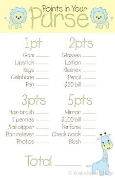 Baby Boy Shower Game – Points in Your Purse by KristinKollerDesign, $12.00 | best stuff