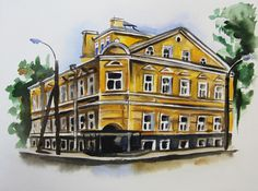 The main building of Nevskaya Palitra. Artwork by Maria Tolstonog