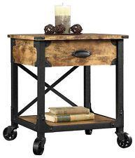 Rustic End Side Table with Drawer Restoration Industrial Vintage Look & Hardware