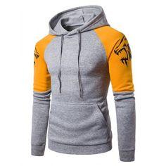 e566f0a81b7bf9 Hooded Long Sleeve Hoodie  Fashion  Mens  Men  LightGray Wolf Hoodie