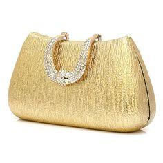 Metallic Gold Hard Wedding Bridal Ball Evening Clutches Purses Bags SKU-1110751