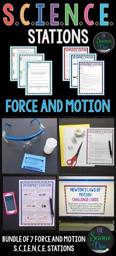 This Force and Motion S. Stations Bundle is designed to get your students engaged, collaborating, and moving in your daily lesson. This bundle includes 7 different Force and Motion S. Kindergarten Science, Elementary Science, Middle School Science, Science Classroom, Science Education, Science Lessons, Teaching Science, Science Activities, Science Projects