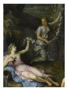 La Nymphe Cyané, compagne de Proserpine, changée en fontaine par Pluton Giclee Print by René Antoine Houasse at Art.com