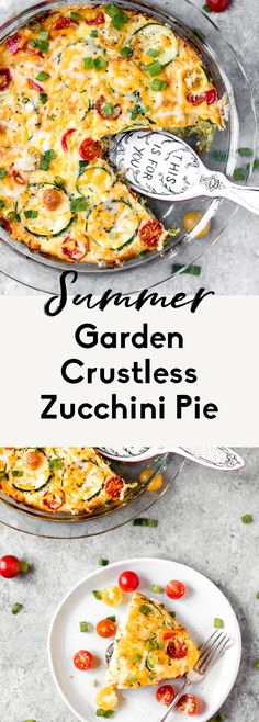 Easy low carb crustless zucchini pie packed with vegetables from your summer garden. This healthy zucchini pie recipe includes eggs, cheese, zucchini, mushrooms, tomatoes, bell pepper, green onion and basil. Perfect for breakfast or brunch! #zucchini #zucchinirecipe #eggbake #breakfast #brunch #healthybreakfast #highprotein #eggrecipe Quiche Recipes, Egg Recipes, Brunch Recipes, Summer Recipes, Breakfast Recipes, Cooking Recipes, Paleo Breakfast, Fall Recipes, Soup Recipes