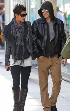 Scarf adds nice texture to outfit.    (halle berry and olivier martinez)