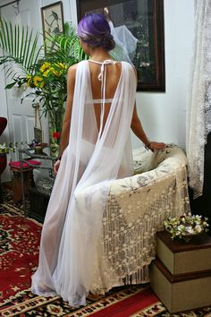 White Or Black Sheer Nylon Backless Robe Bridal Lingerie Wedding Robe Bridal Sleepwear Lingerie Nightgown