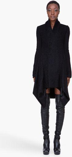 Rick Owens Black Mohair Oblique Coat