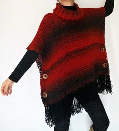 Items similar to Bohemian handknit poncho with hand turned wooden buttons and removable cowl, Red ombre fringed boho poncho on Etsy Crochet Shawl, Crochet Yarn, Knitting Yarn, Hand Knitting, Poncho Knitting Patterns, Knitted Cape, Ladies Poncho, Poncho Shawl, Knitwear Fashion