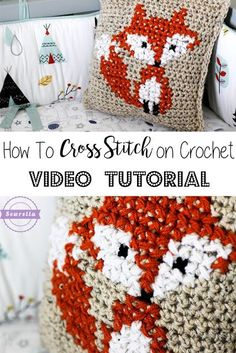 How to Cross Stitch on Crochet | Fox Pillow | Free Pattern & Video Tutorial from Sewrella