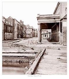 Warehouses and wharf of Vendue Range, Charleston, SC 1865