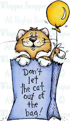 Cat Out of the Bag - Cats - Animals - Rubber Stamps - Shop