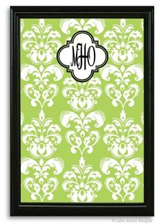 Green damask magnetic bulletin board. Great idea for the graduate!