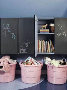 Chalkboard cabinets, pink bins