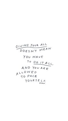 Motivational Quotes : QUOTATION - Image : As the quote says - Description Giving your all doesn't mean you have to dot it all and you are allowed to Words Quotes, Wise Words, Me Quotes, Motivational Quotes, Inspirational Quotes, Sayings, Qoutes, Pretty Words, Cool Words