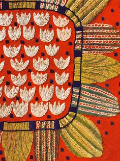 1950s Swedish embroidery colour from Swedish sewing book, Hemslojdens Hardarbeten via Elizabeth Cake