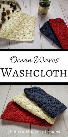 Ocean Waves Washcloth crochet pattern is free, beginner friendly and uses 1 oz of yarn/cloth soft & absorbent cloth is sure to clean up life's little messes Tunisian Crochet, Crochet Yarn, Easy Crochet, Free Crochet, Washcloth Crochet, Crochet With Cotton Yarn, Crochet Mandala, Crochet Afghans, Crochet Blankets