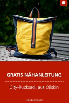 Sewing instructions for an Oilskin backpack - Free sewing instructions: City backpack made of Oilskin # Nähanleitung # Near - Diy Bags Patterns, Easy Sewing Patterns, Sewing Tutorials, Sewing Projects, Diy Backpack, Tactical Backpack, Diy Bag Painting, Mochila Tutorial, Backpacking For Beginners