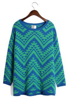 Aztec Triangle Pattern Jumper in Green/Blue