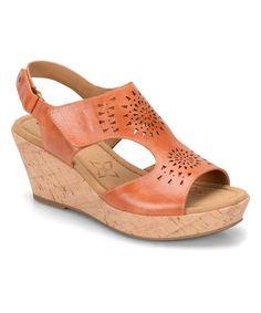 Look at this #zulilyfind! Poppy Orange Rainer Leather Wedge Sandal #zulilyfinds