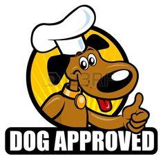 Sello de aprobación de un perro de cocina. Ideal para productos de alimentos para perros.  Foto de archivo.
