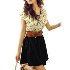 Amazon.com: Allegra K Woman Beige Black Scoop Neck Dotted Shirred Waist Dress XS: Clothing