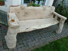 Bench handmade by Mr Crowley for a house in Tynemouth Oak Bench, Crowley, Outdoor Furniture, Outdoor Decor, Embedded Image Permalink, My House, Carving, Fire, Handmade