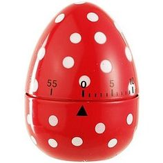Everyone is going dotty over this colourful egg shaped kitchen timer! A 60 minute timer with one minute increments. Simply twist one full turn and then back to the required time. Happy Kitchen, Red Kitchen, Kitchen Tools, Red Dots, Polka Dots, Egg Timer, Red Home Decor, Kitchen Timers, Red Cottage