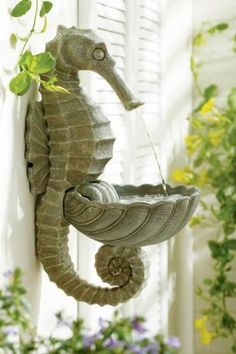 Outdoors Discover CC Home Furnishings Rustic Wall Mounted Seahorse Garden Fountain Coastal Cottage, Coastal Decor, Dream Garden, Garden Art, Meubles Peints Style Funky, Rustic Walls, Beach House Decor, Beach Cottages, Beach Themes