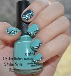 Pretty use of the dotting tool over a sky blue base