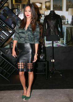 Jamie Chung- camouflage shirt with that leather skirt is pure perfection