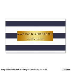 Navy Blue & White Chic Stripes in Gold Double-Sided Standard Business Cards (Pack Of 100)