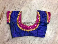 Blue color raw silk designer blouse with fuchsia pink color patch on the sleeves and around the neck. Simple sequins adorned and gold wor. Cutwork Blouse Designs, Patch Work Blouse Designs, Pattu Saree Blouse Designs, Simple Blouse Designs, Stylish Blouse Design, Blouse Neck Designs, Blouse Simple, Saree Blouse Patterns, Designer Blouse Patterns