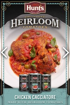 Chicken Cacciatore made with Hunt's® Heirloom Tomatoes. Get the recipe at ReadySetEat.ca Healthy Foods To Eat, Healthy Recipes, Slow Cooker Recipes, Cooking Recipes, Chicken Recipes, Chicken Meals, Chicken Cacciatore, Instant Pot Dinner Recipes, Heirloom Tomatoes