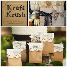 Roundup of Brown Paper Bag Packaging Ideas from Older and Wisor here.Photo Upper Right: Michaels here,Photo Bottom: The Polka-Dot Umbrella here.
