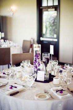 Simple purple calla lily centerpieces