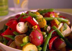 Warm Vegetable Salad from FoodNetwork.com- can use roasted red peppers in a jar to save time.