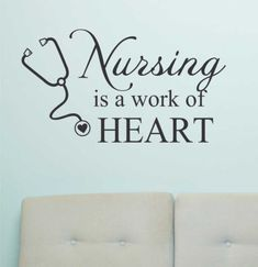 Vinyl Wall Lettering Quotes Nursing Is A Work of Heart Medical Nurse Decal | eBay