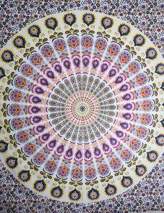 Pink & Yellow Mandala Tapestry