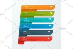 Infographic template with ribbons banners arrows 6 options. Illustrations