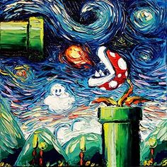 Starry Night Piranha Plant - Video Game Art - Fine art print - giclee - Mario Art - Nintendo - van Gogh Never Leveled Up - Art by Aja 8x8, 10x10, 12x12, 20x20, 24x24 inch print sizes