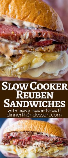 Slow Cooker Reuben Sandwiches are perfect for leftover corned beef after your St. Patrick's Day dinner with a quick sauerkraut, Swiss cheese and thousand island dressing.