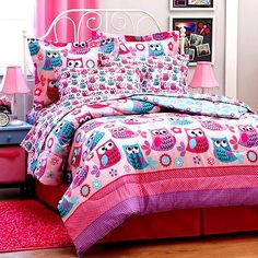 Details About Girl Teen Pink Lavender OWL 6pc Twin Or 8pc Full Size  Comforter Bed In A Bag Set