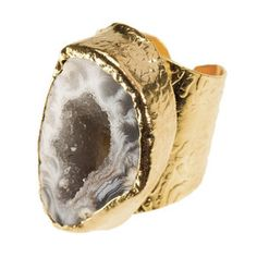 American Coin Treasures 24K Gold Oval Agate Cigar Ring