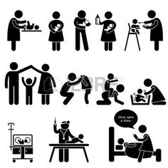 Nanny Mother Father Caring Baby Infant Children Stick Figure Pictogram Icon Vector
