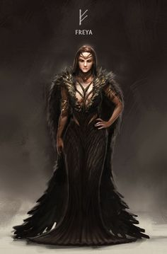 ArtStation - Kaichen Yan's submission on Ancient Civilizations: Lost & Found - Character Design Freya Odin Norse Mythology, Norse Goddess, Norse Pagan, Old Norse, Thor Norse, Nordic Goddesses, Gods And Goddesses, Medieval Combat, Viking Character