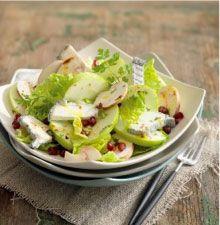 Salade composée de pomme, chèvre et champignons