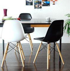 Cadeira Eames Preta Polipropileno Pé Madeira - Obravip